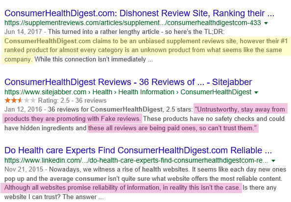 Consumer Health Digest not reliable