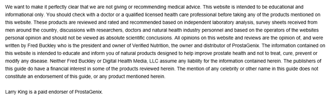 larry king prostate AD disclaimer