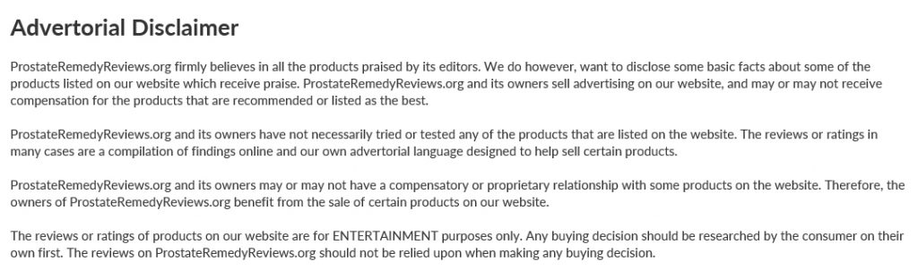 prostate remedy reviews disclaimer